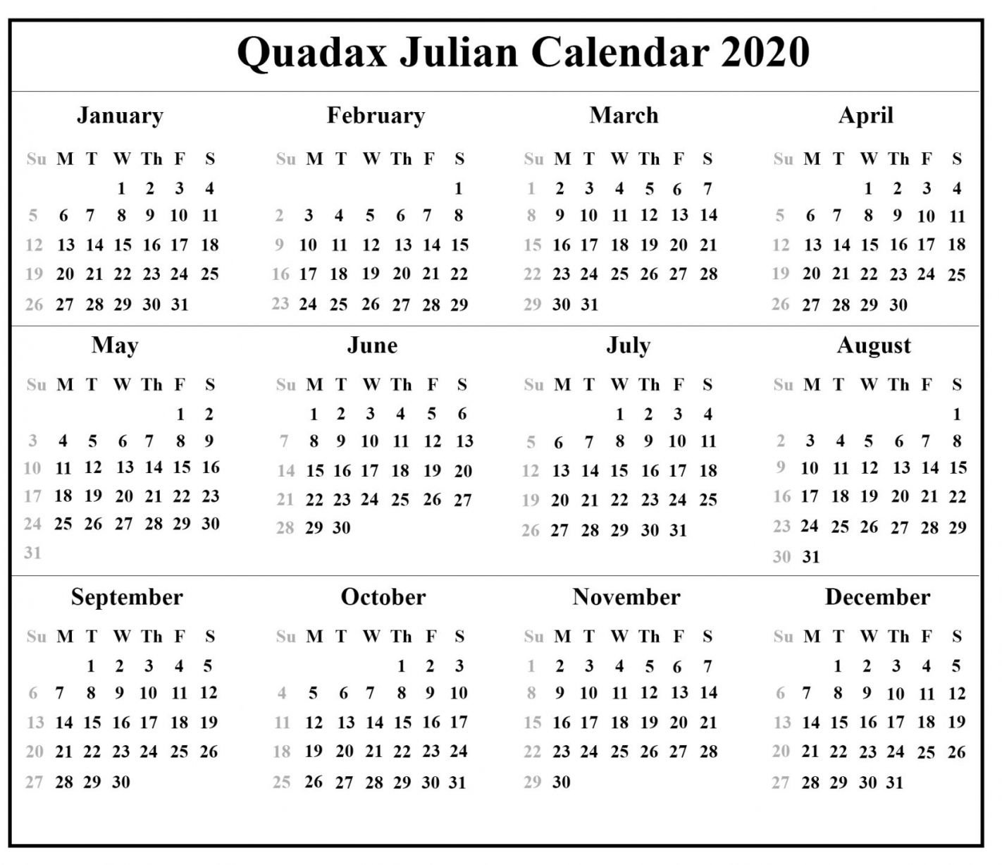 Printable 2021 Julian Calendar In 2020 | Printable Calendar