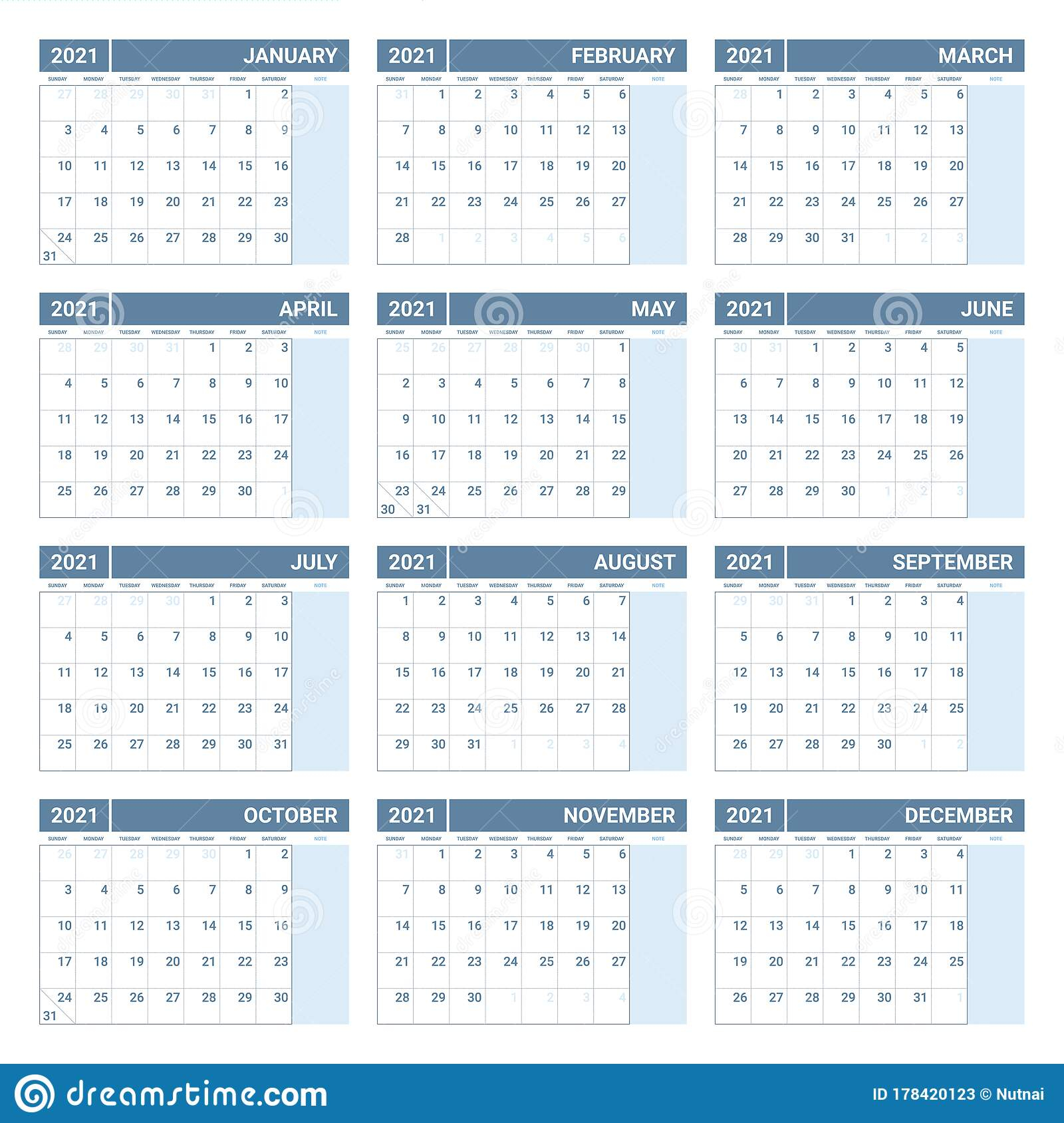 Printable 2021 Yearly Calendar Template In Simple Design