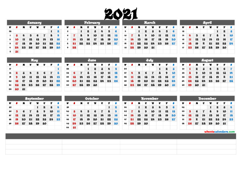 Printable 2021 Yearly Calendar With Week Numbers