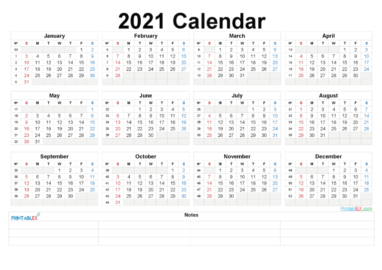 Printable 2021 Yearly Calendar With Week Numbers – Free