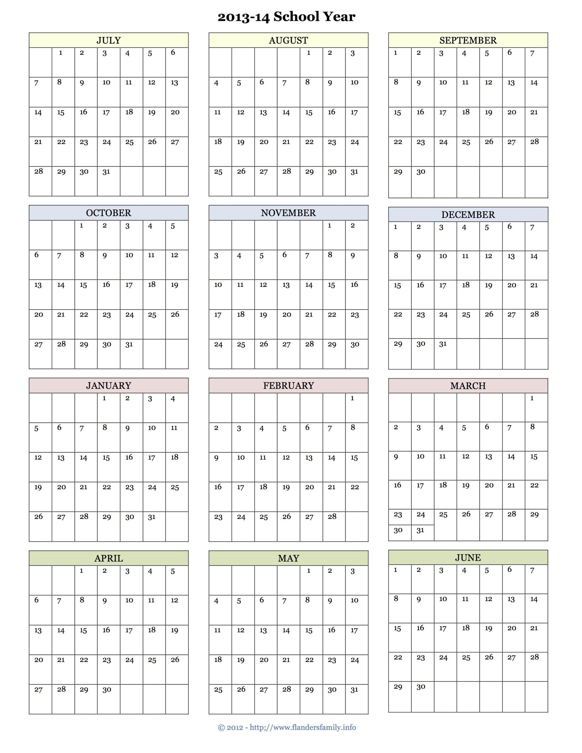 Printable Academic Calendar The Flanders Family Website