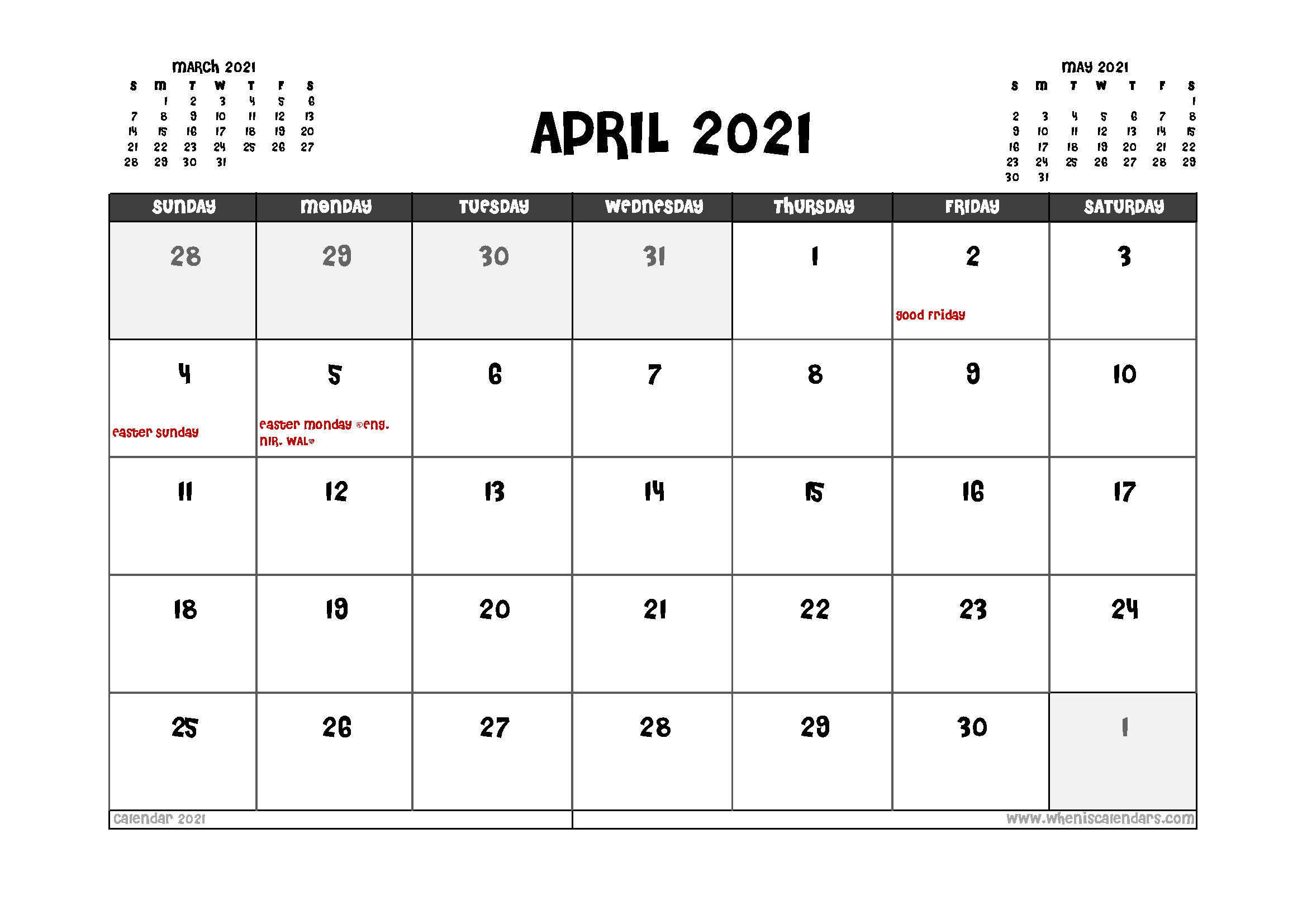 Printable April 2021 Calendar Uk In 2020 | Calendar Uk, 2021