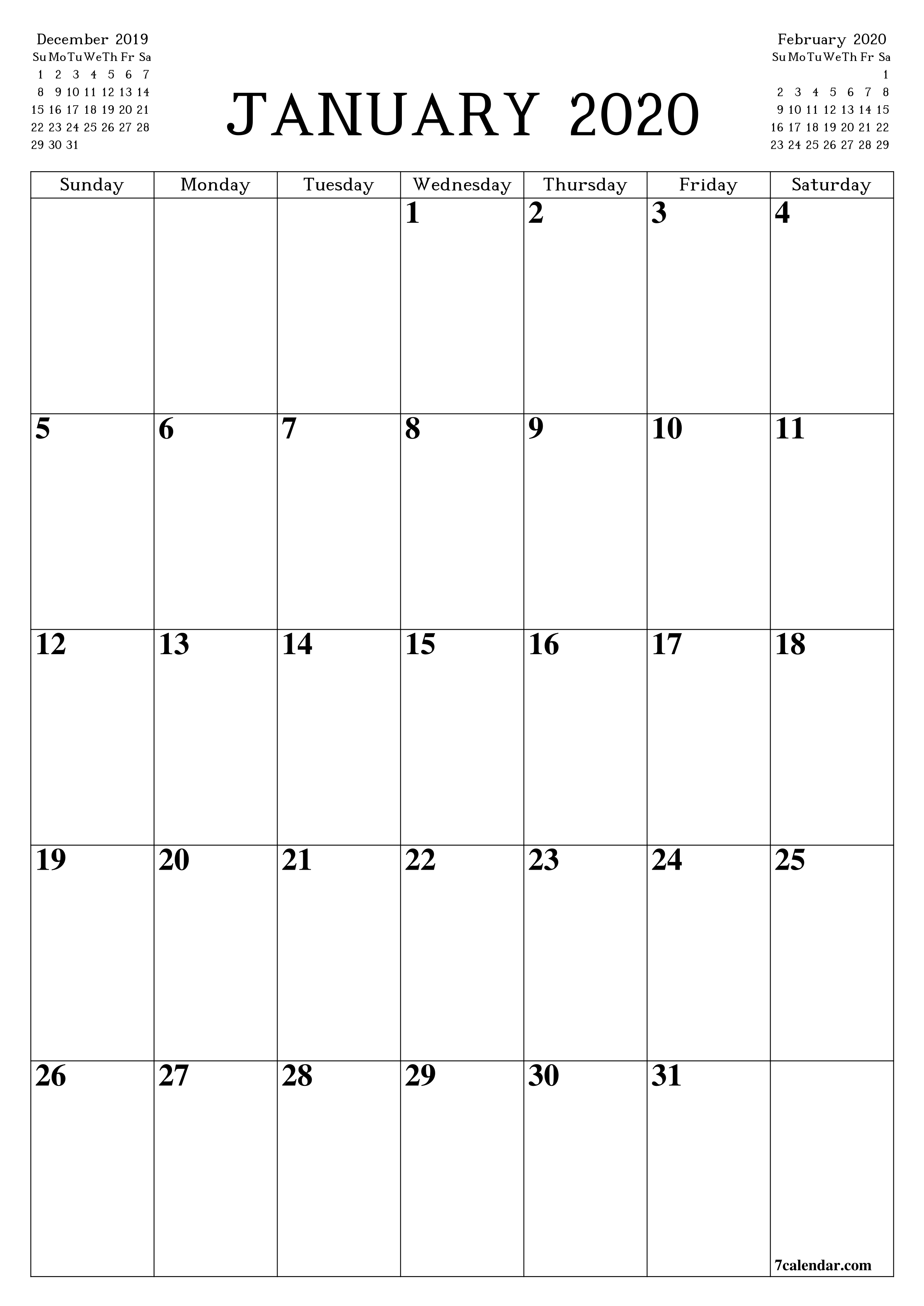 Printable Blank Calendar Planner A4, A5 And A3, Pdf And Png