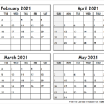 Printable Blank Four Month February March April May 2021