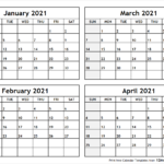 Printable Blank Four Month January February March April 2021
