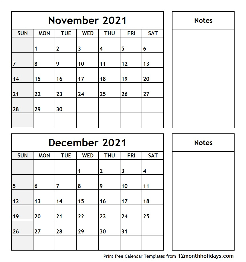 Printable Blank Two Month Calendar November December 2021