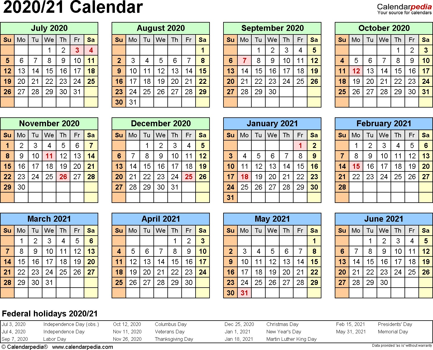 Printable Calendar 2020 And 2021 Split Year Calendars 2020