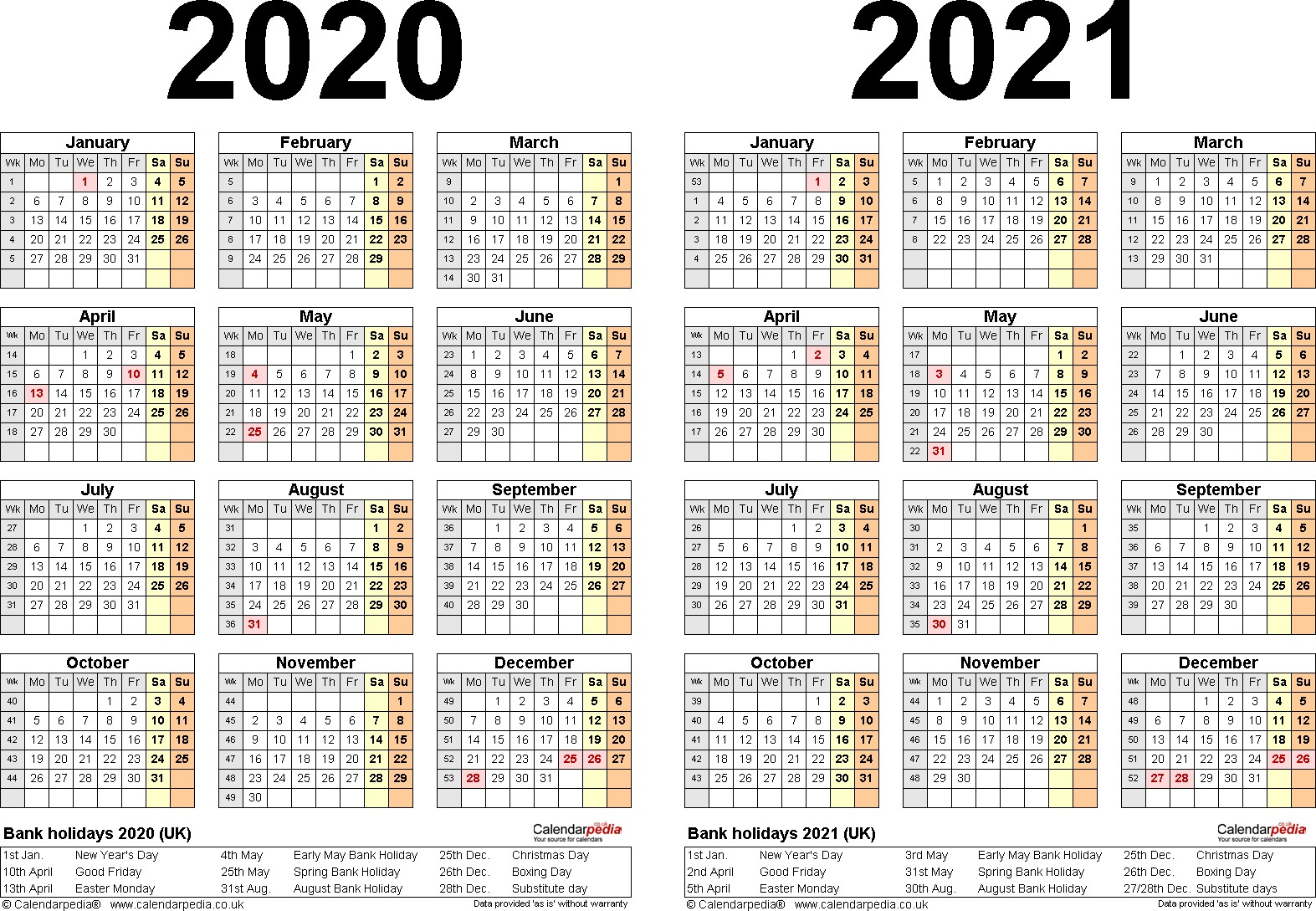 Printable Calendar 2020 And 2021 Two Year Calendars For 2020