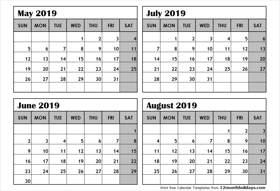 Printable Calendar 4 Months Per Page In 2020 | Calendar