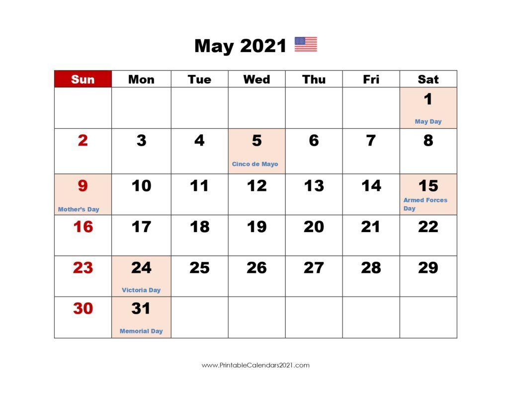 Printable Calendar May 2021, Printable 2021 Calendar With