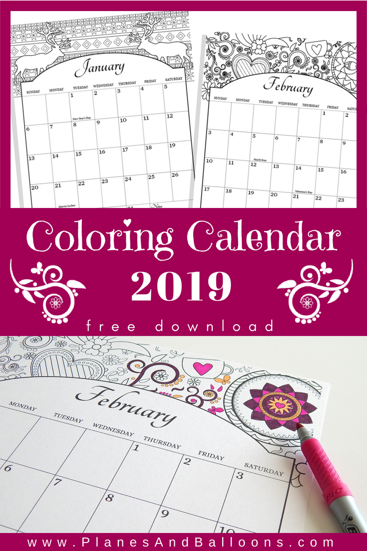 Printable Coloring Calendar For 2021 (Us Holidays Included