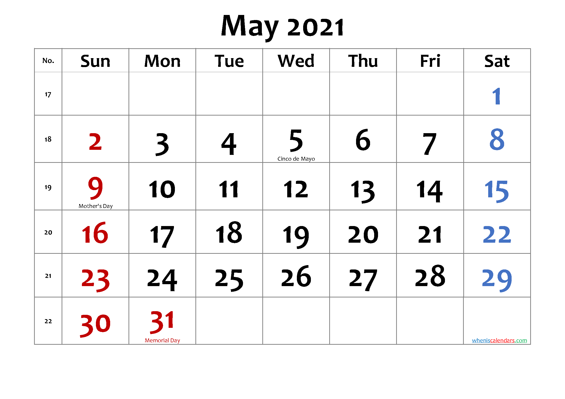 Printable May 2021 Calendar With Holidays-Template No