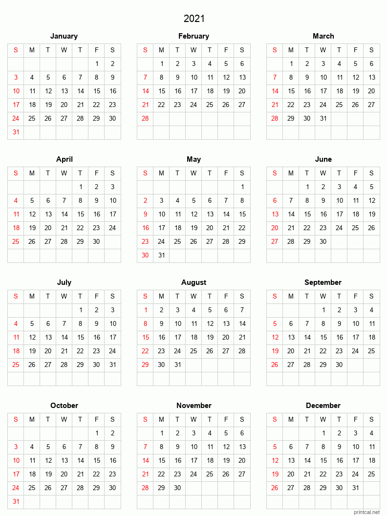 Printable Yearly Calendar 2021, Full-Year | Free Printable