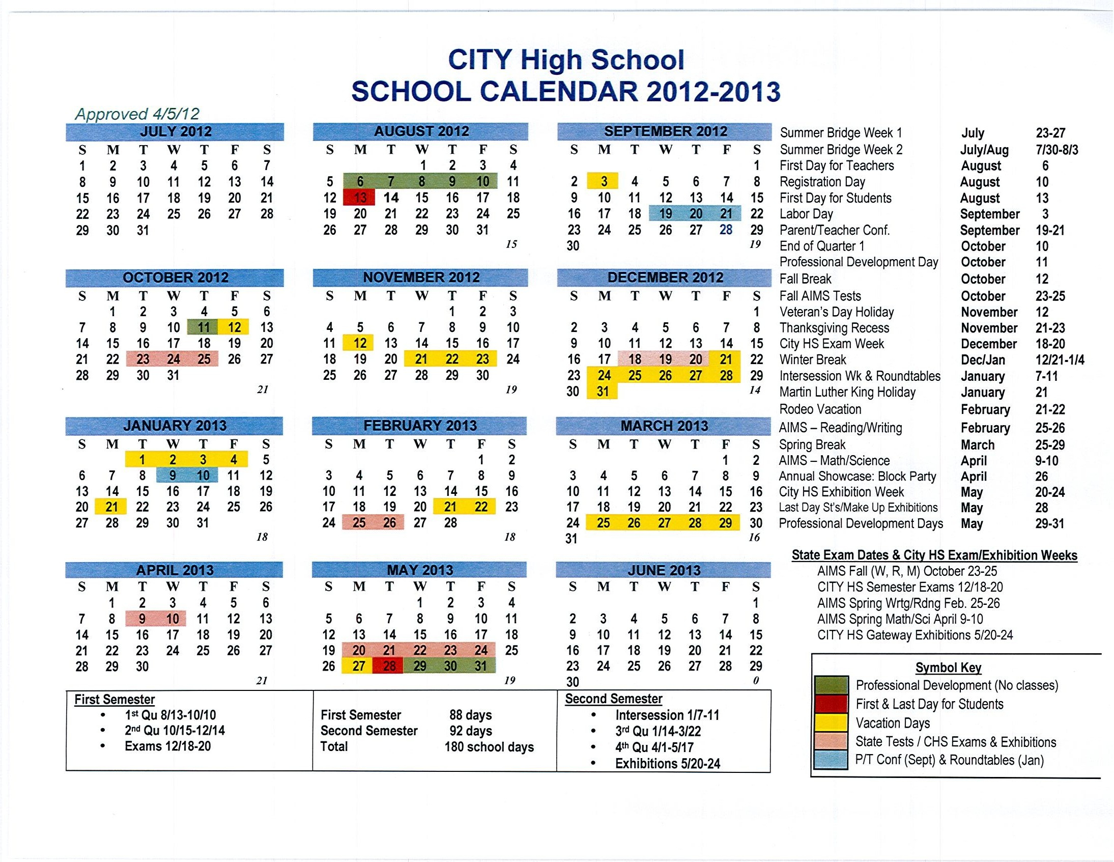 School Calendar Approved For 2012-13 | A Charter High School