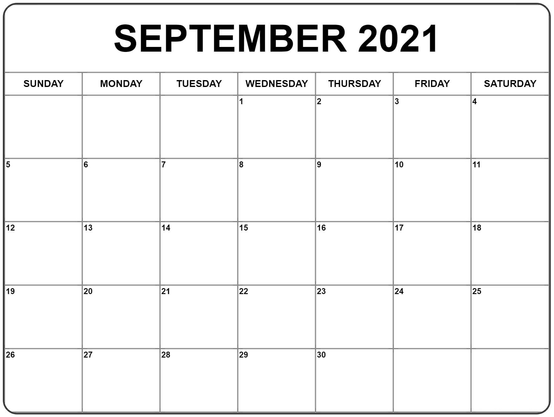 September 2021 Calendar | Calendar Printables, Blank Monthly