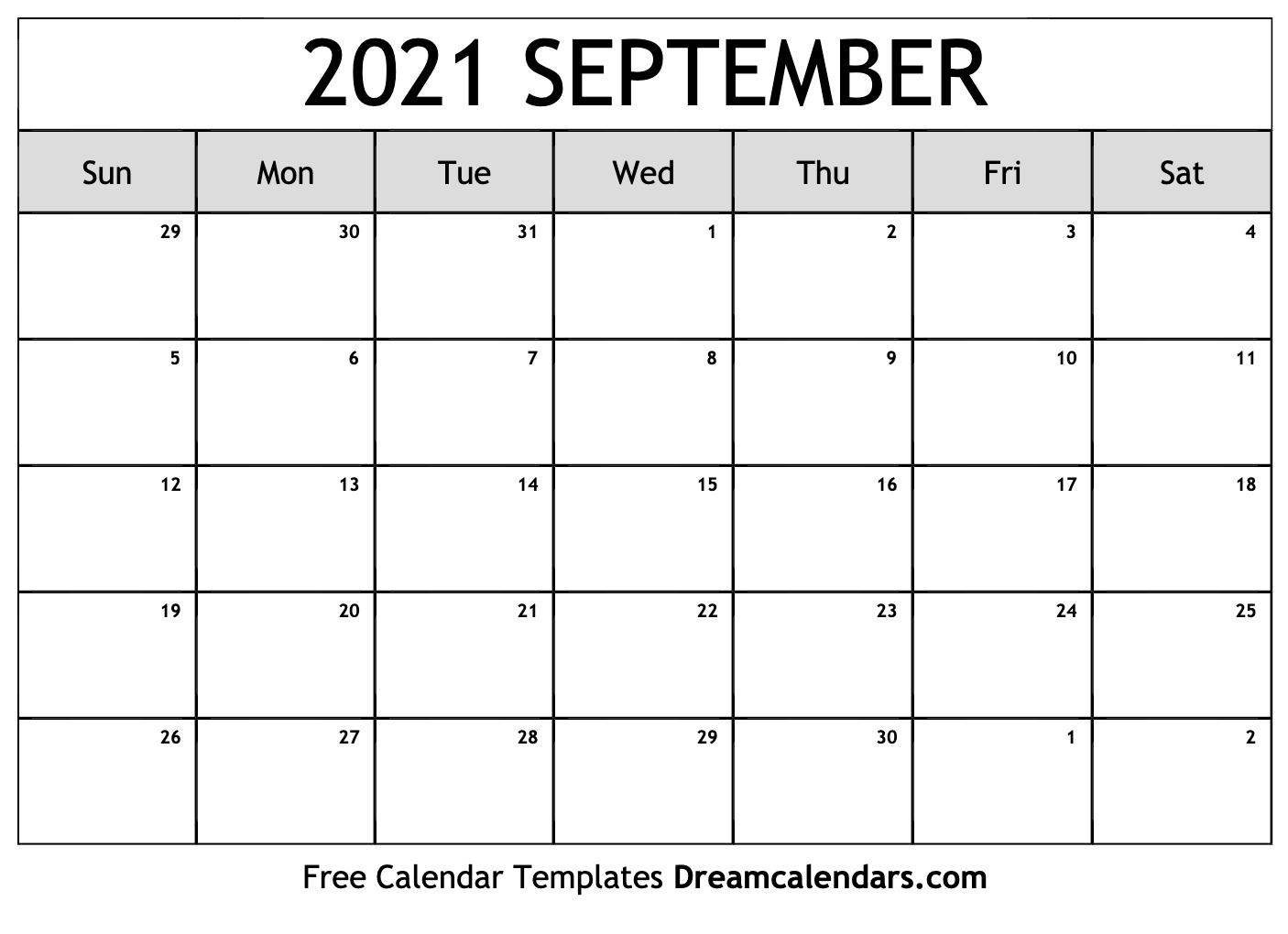 September 2021 Calendar | Free Blank Printable Templates