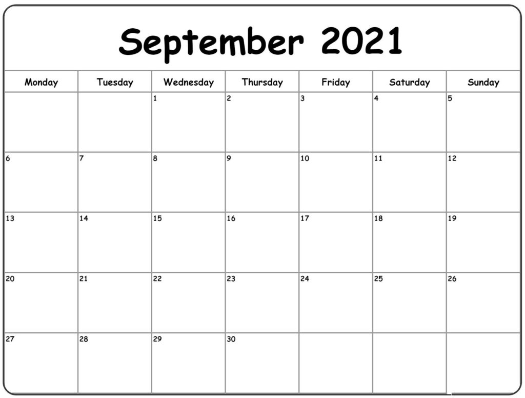 September 2021 Calendar – Free Calendar Template With