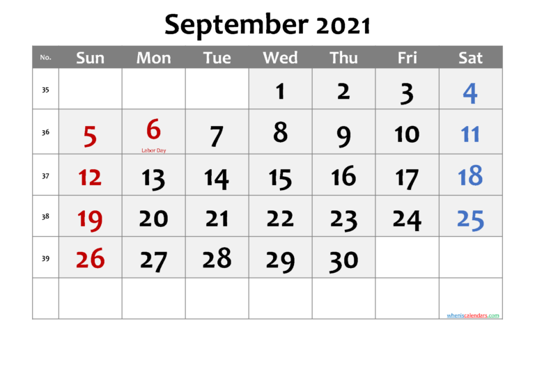 September 2021 Calendar With Holidays Printable-Template No