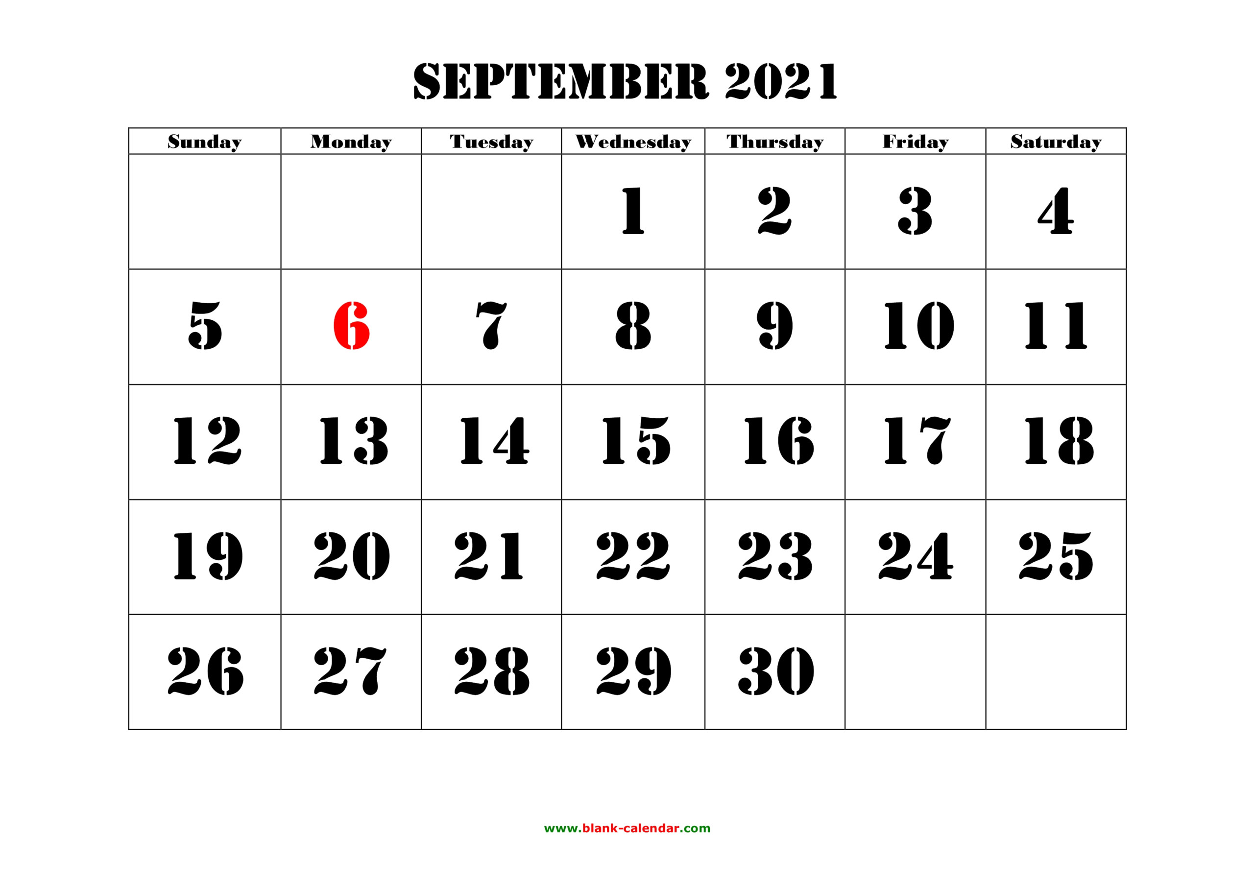 September 2021 Printable Calendar | Free Download Monthly
