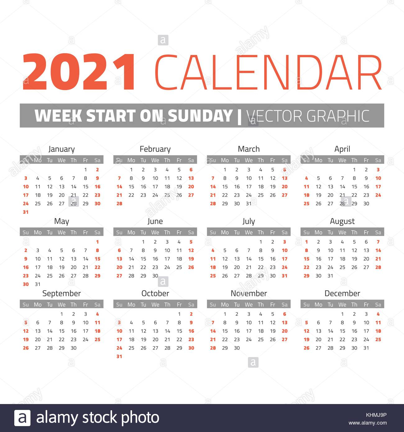 Simple 2021 Year Calendar Stock Vector Image & Art - Alamy
