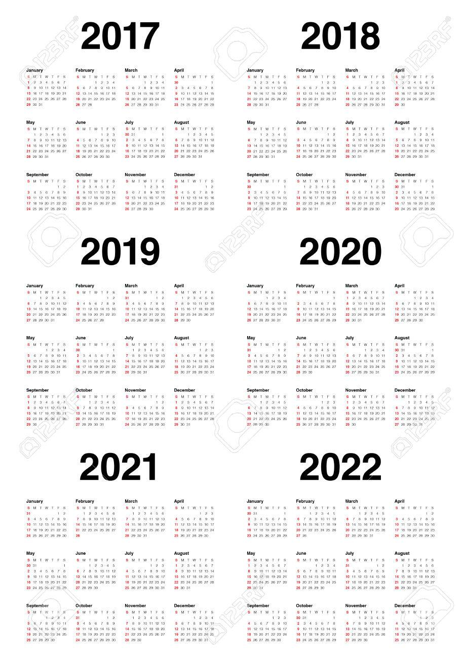 Simple Calendar Template For 2017, 2018, 2019, 2020, 2021 And..