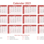 Small Desk Calendar 2021 With Holidays – Free Printable 2020