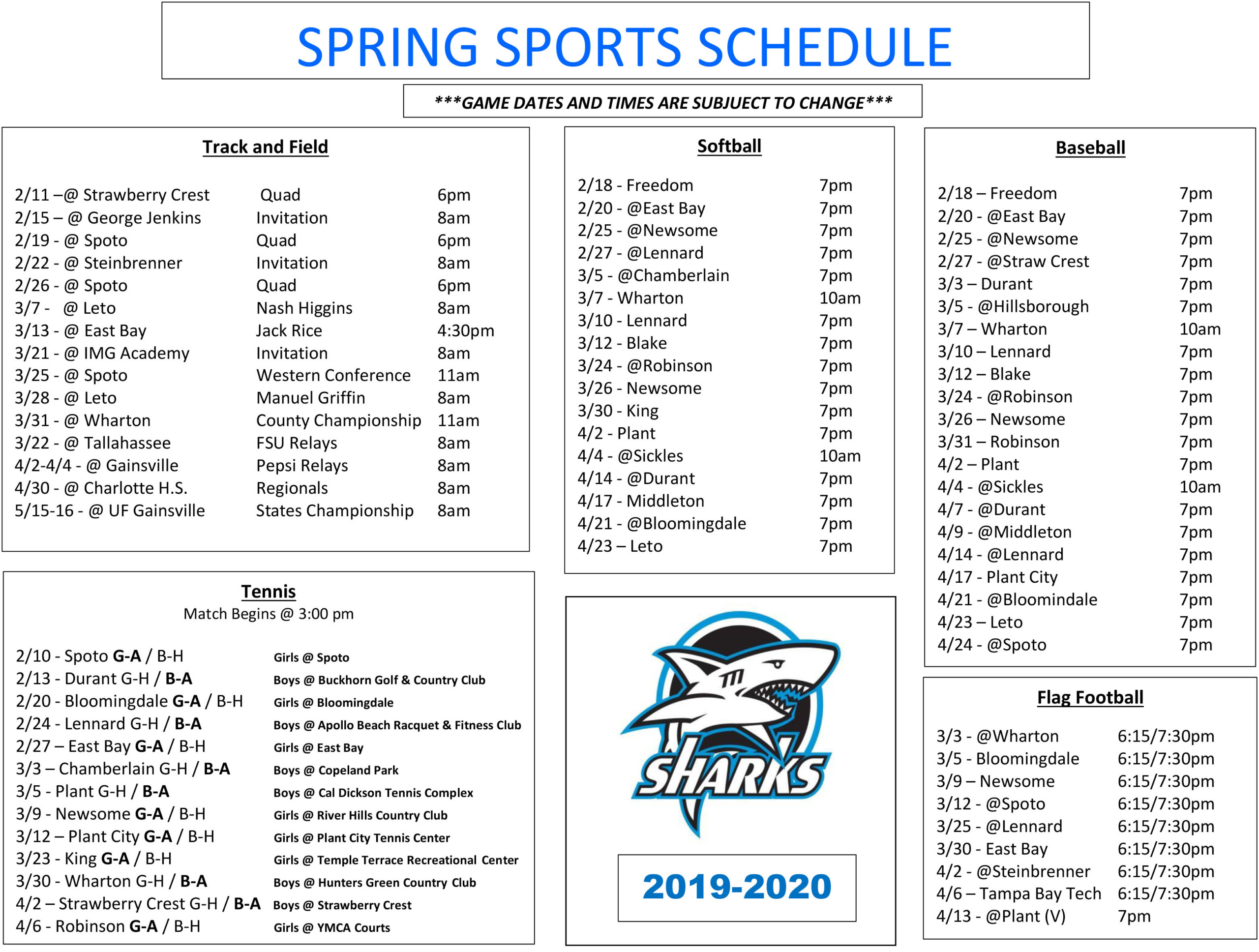 Spring 2021 Calendar Hillsborough Community College