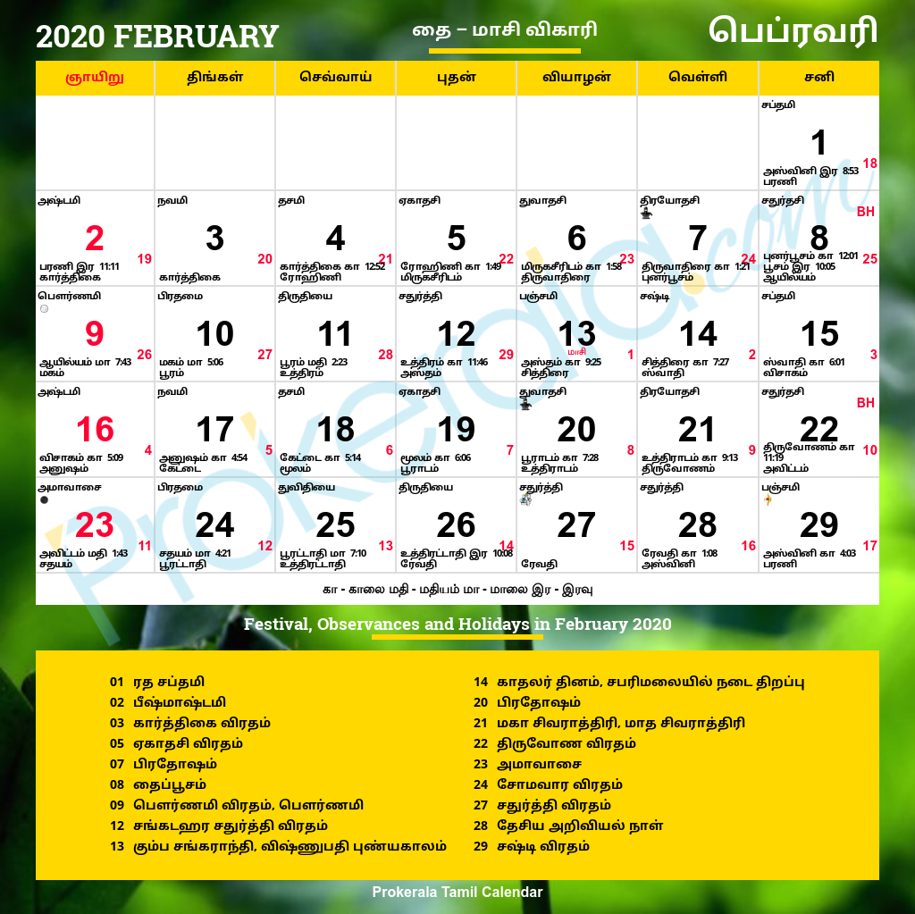 Tamil Calendar 2020 With Festivals In 2020 | Calendar 2020