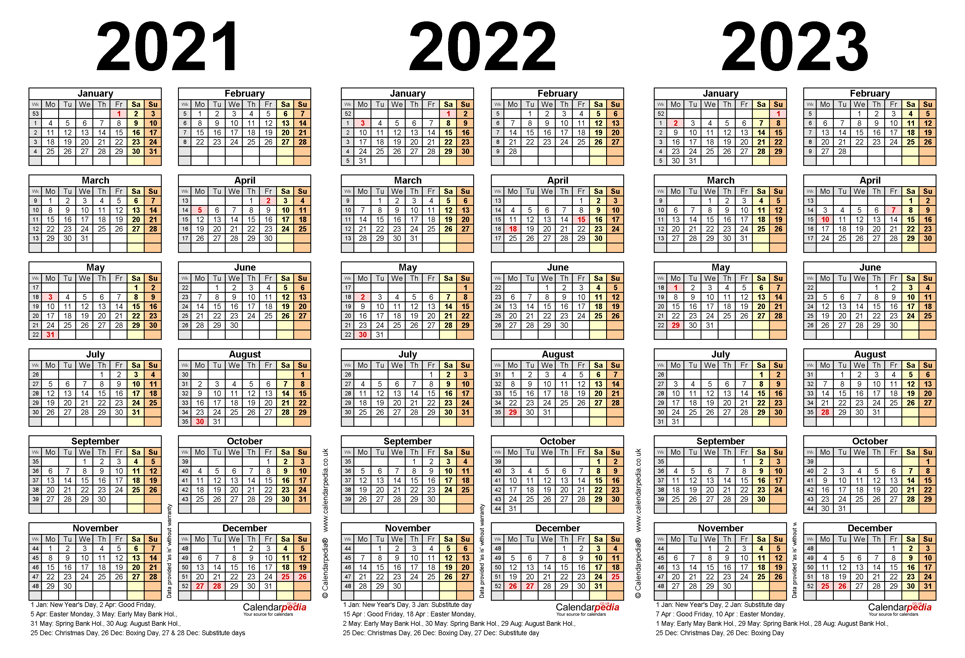 Printable 3 Year Calendar 2021 To 2023 | Free 2021 ...