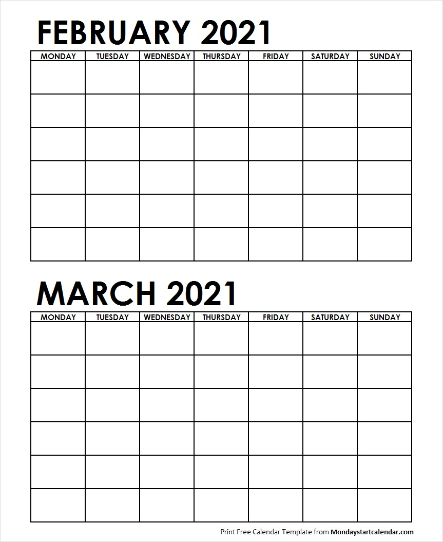Two Month February March 2021 Calendar Blank   Two Months