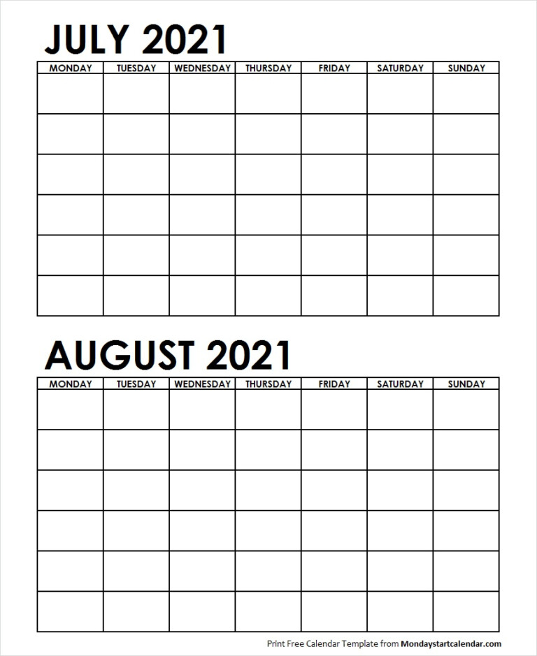 Two Month July August 2021 Calendar Blank | Two Months Template
