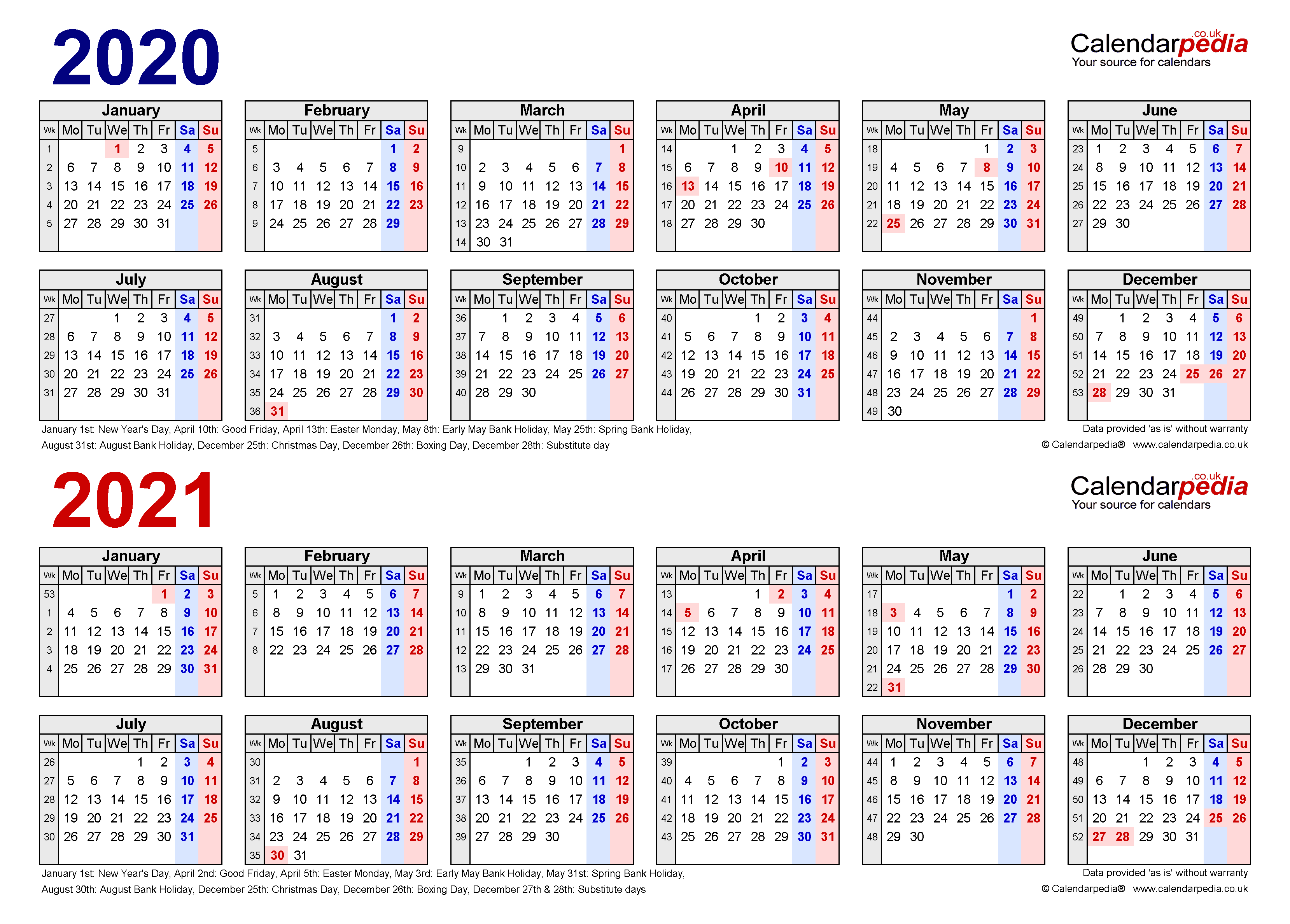 Two Year Calendars For 2020 & 2021 (Uk) For Pdf