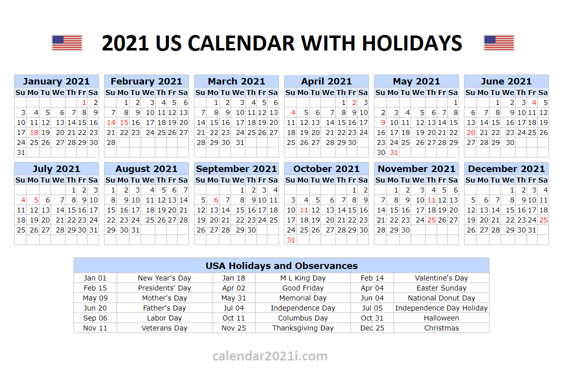 Us 2021 Holidays Calendar In 2020 | Holiday Words, 2021