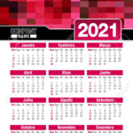 Useful Wall Calendar 2021 With Design Of Red Colors Mosaic. Vertical..