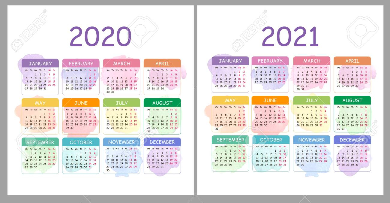 Vector Calendar 2020, 2021 Years. Colorful Set With Watercolor..