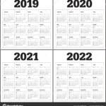 Year 2019 2020 2021 2022 Calendar Vector Design Template, Simple And Clean  Design 215804192