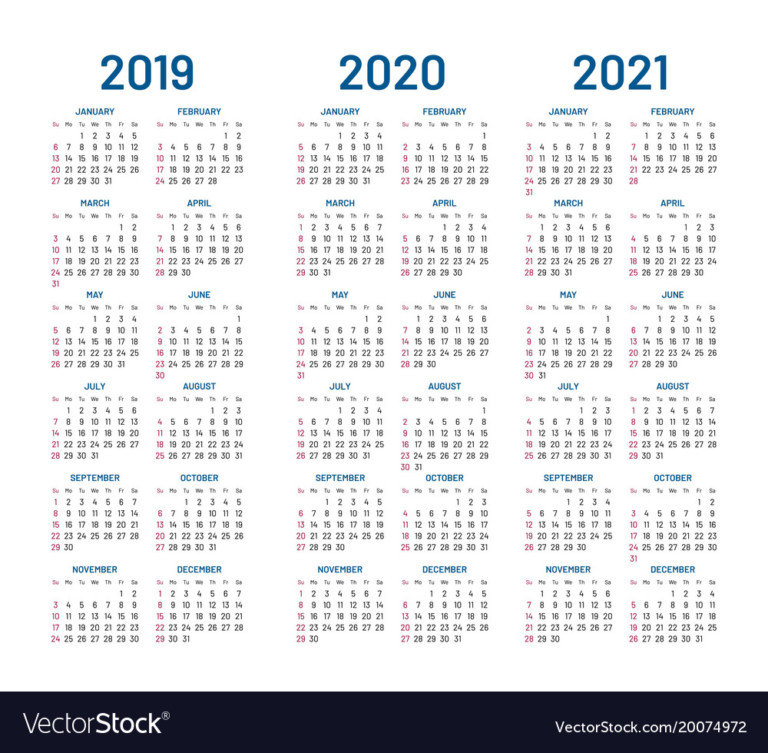 Year 2019 2020 2021 Calendar Royalty Free Vector Image