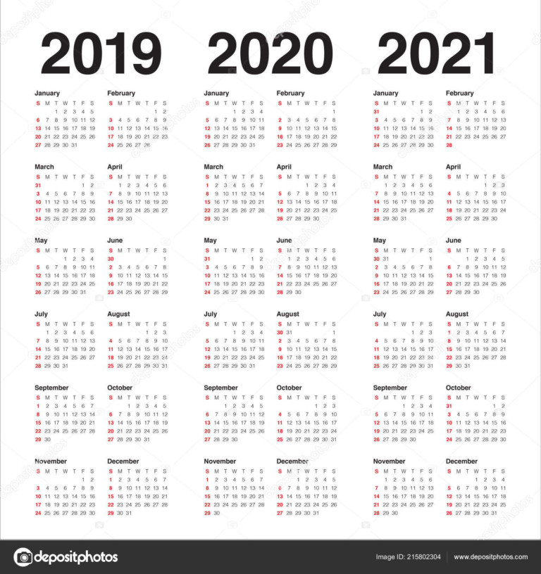 Year 2019 2020 2021 Calendar Vector Design Template, Simple And Clean  Design 215802304