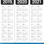Year 2019 2020 2021 Calendar Vector Design Template Stock