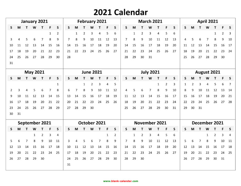 Yearly Calendar 2021 | Free Download And Print