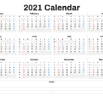 2021 Annual Calendar Printable – 6 Templates – Free