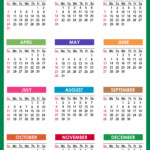2021 Calendar Printable Free, Pdf, Colorful, Blue, Green