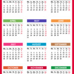 2021 Calendar Printable Free, Pdf, Colorful, Red, Orange