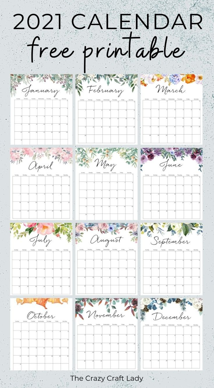 2021 Free Printable Floral Wall Calendar In 2020 | Monthly