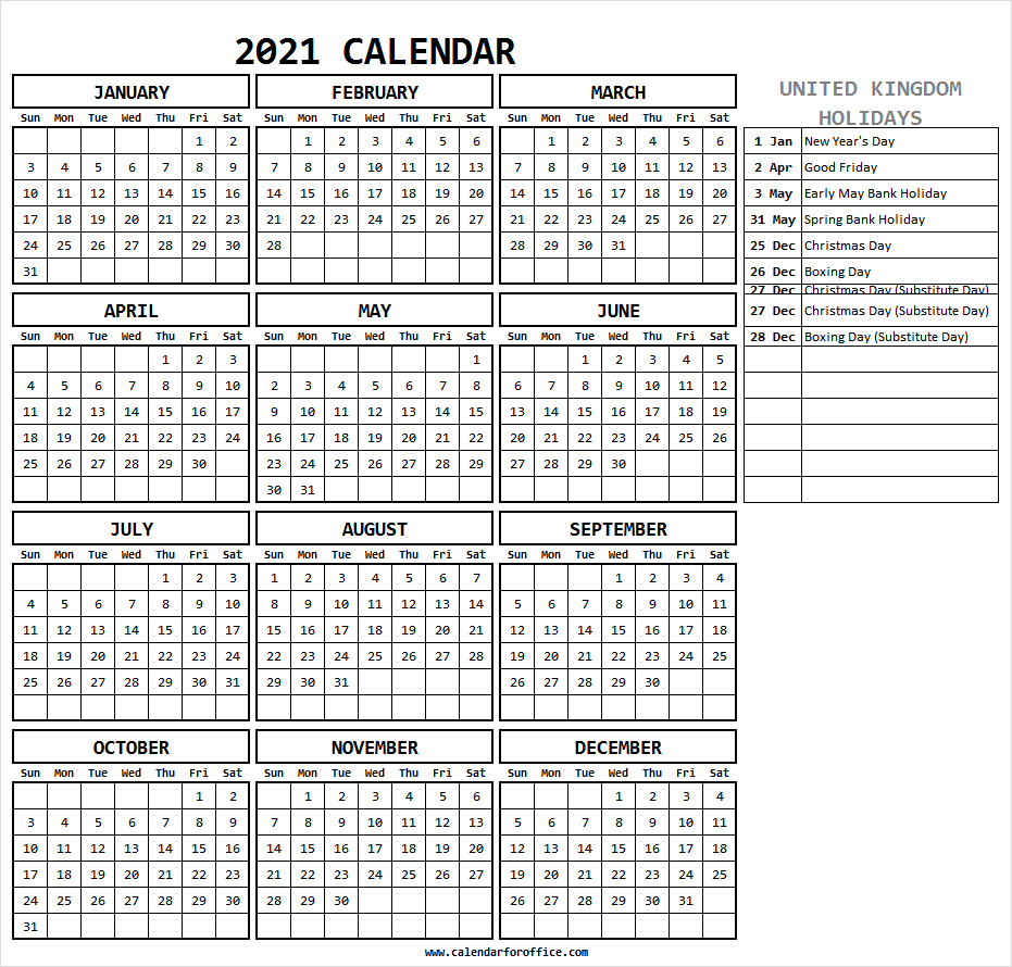 Calendar 2021 With Holidays Uk - Free Printable Calendar 2021