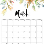 Cute March 2021 Floral Calendar In 2020 | Monthly Calendar