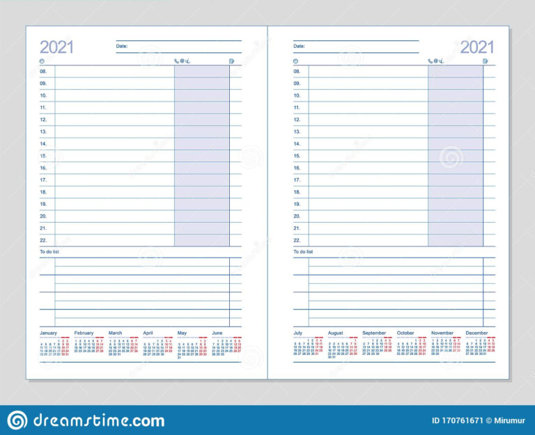 Datebook 2021. Diary 2021. Daily Planner 2021 Stock Vector