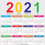 Free Colorful 2021 Calendar Vector