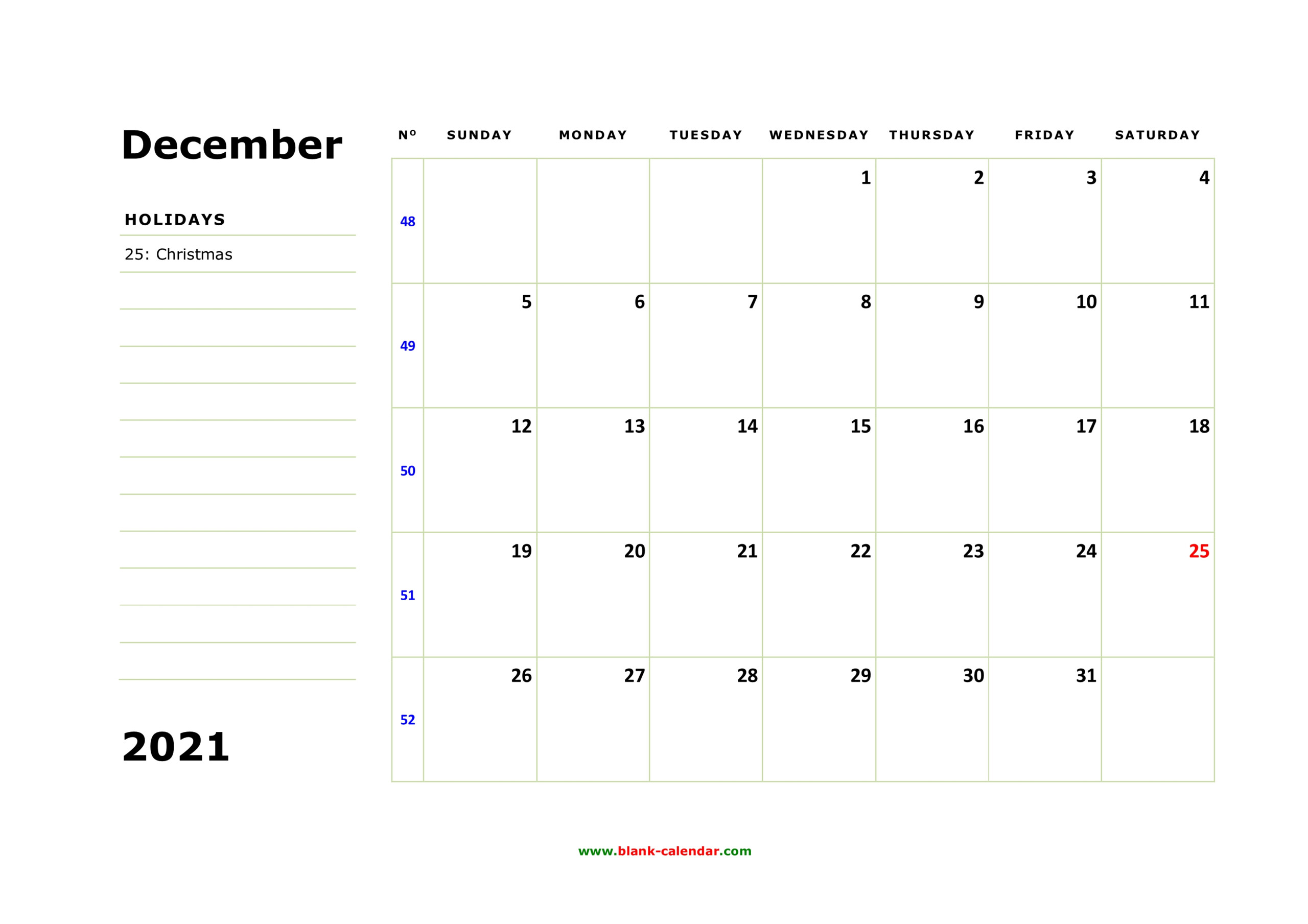 Free Download Printable December 2021 Calendar, Large Box