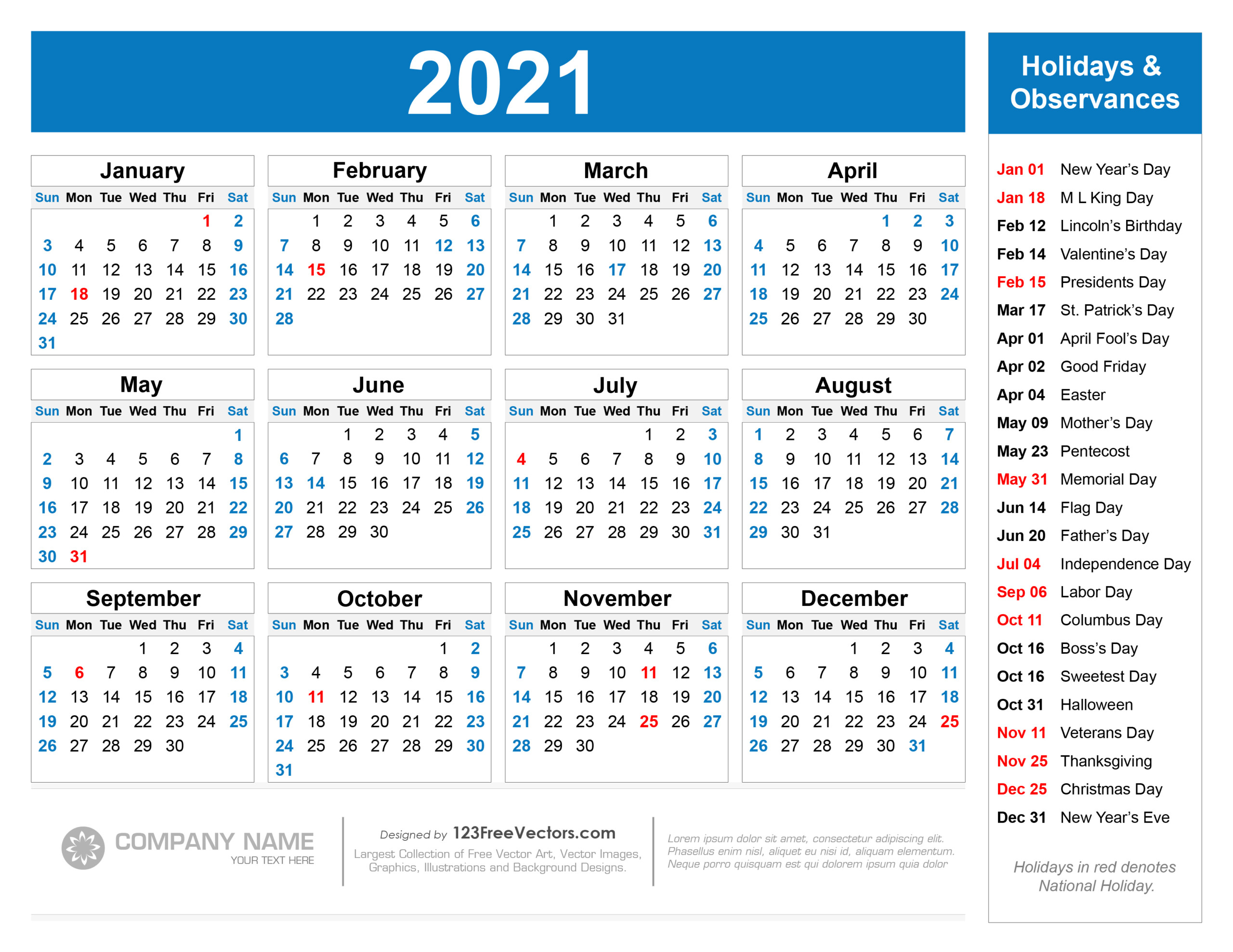 Free Free Printable 2021 Calendar With Holidays